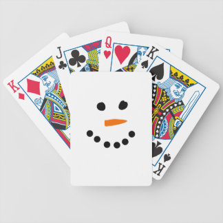 Snowman Face Bicycle Playing Cards