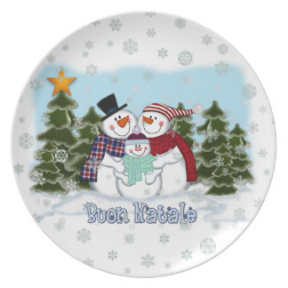 Snowman Family Buon Natale Plate