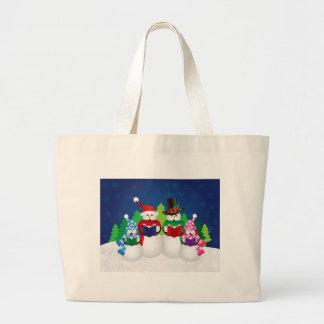 Snowman Family Christmas Carolers at Night Bag