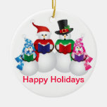 Snowman Family Christmas Carolers Ornament