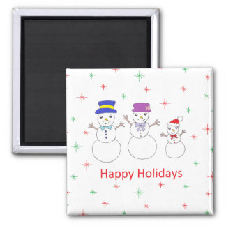 Snowman Family Happy Holidays Square Magnet