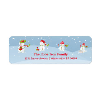 Snowman Family | Holiday Return Address Label
