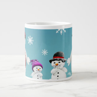 Snowman Family Large Coffee Mug