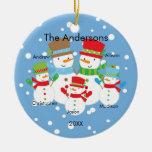 Snowman Family of 5 Christmas Ornament CUTE