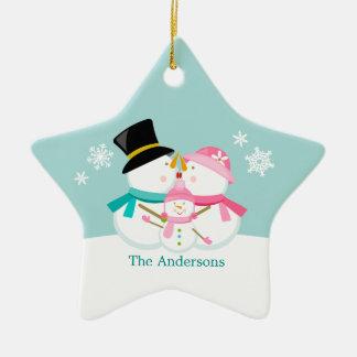Snowman Family of Three Christmas Holidays Ceramic Star Decoration