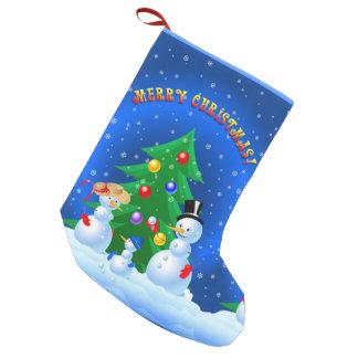 Snowman Family Small Christmas Stocking