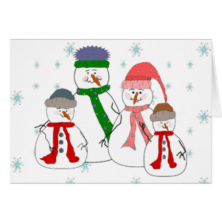 Snowman Family Snowmen Children Snow Whimsical Art Card