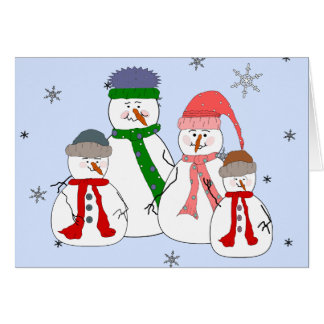 Snowman Family Snowmen Children Snow Whimsical Art Card