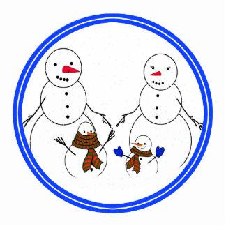 Snowman Family Standing Photo Sculpture