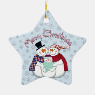 Snowman Family Star Ornament