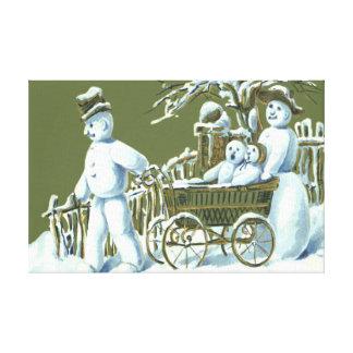 Snowman Family Walk Stroll Snow Canvas Print