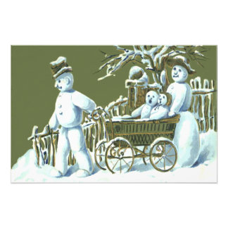 Snowman Family Walk Stroll Snow Photographic Print