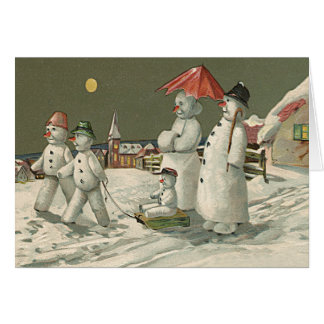 Snowman Family Winter Playing Snow Church Greeting Card