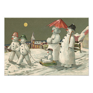 Snowman Family Winter Playing Snow Church Photo Print