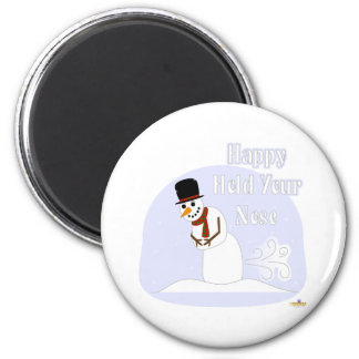 Snowman Farting Happy Hold Your Nose Blue Magnet