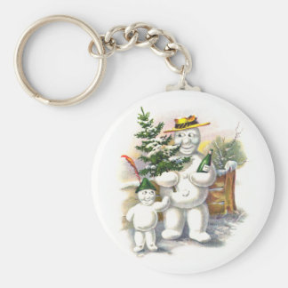 Snowman Father and Son Basic Round Button Key Ring