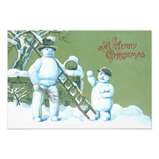 Snowman Father And Son Snow Ladder Snowball Photo Art