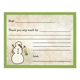 Snowman Fill in the blank thank you note / holiday Card
