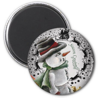 Snowman Framed in Circle of Reindeer Gifts 6 Cm Round Magnet