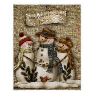 Snowman friends poster