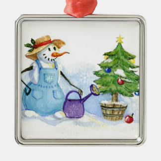 Snowman-gardener Christmas Ornament