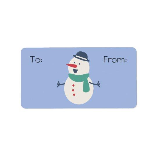Snowman Gift Label