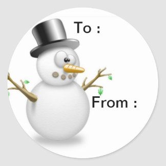 Snowman gift labels round sticker