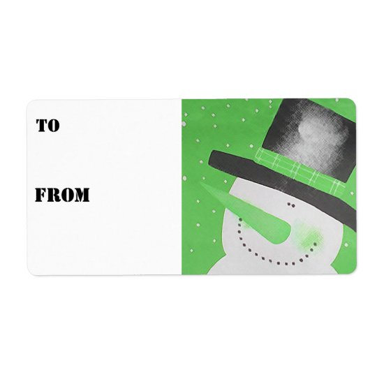Snowman Gift Tags - Green Shipping Label