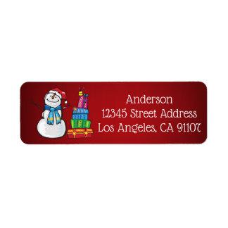Snowman & Gifts Return Address Labels