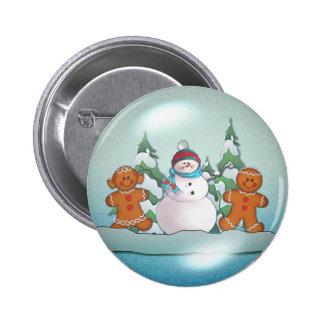 SNOWMAN & GINGERBREAD KIDS by SHARON SHARPE 6 Cm Round Badge