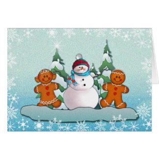SNOWMAN & GINGERBREAD KIDS by SHARON SHARPE Card