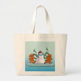 SNOWMAN & GINGERBREAD KIDS by SHARON SHARPE Jumbo Tote Bag