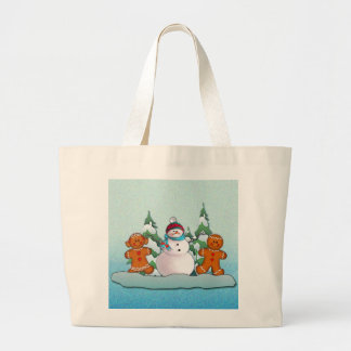 SNOWMAN & GINGERBREAD KIDS by SHARON SHARPE Large Tote Bag