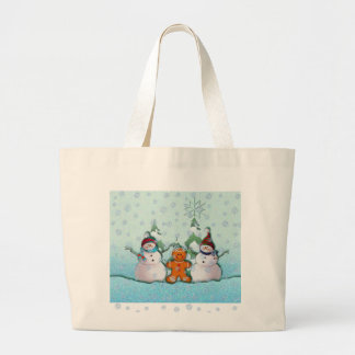 SNOWMAN & GINGERBREAD MAN by SHARON SHARPE Large Tote Bag