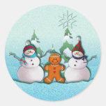 SNOWMAN & GINGERBREAD MAN by SHARON SHARPE Round Sticker