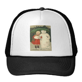 Snowman Girl Umbrella Snowfall Mesh Hats