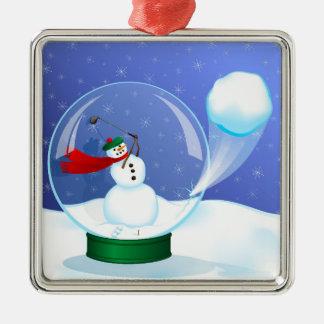 Snowman Golfer in a Snow Globe Christmas Ornament