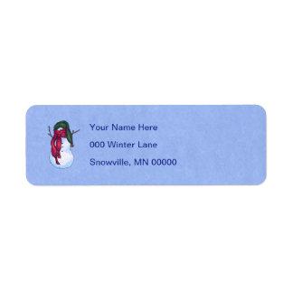 Snowman Green Hat Blue Return Address Label