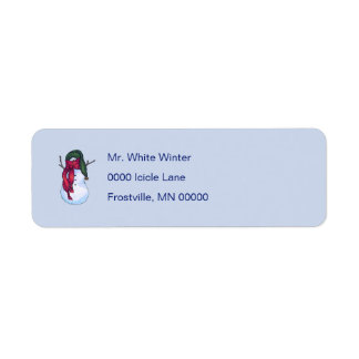 Snowman Green Hat Return Address Label