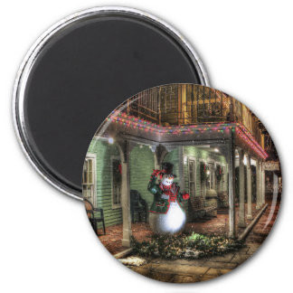 Snowman Greetings 6 Cm Round Magnet