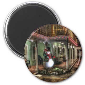 Snowman Greetings 6 Cm Round Magnet