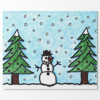 Snowman Greetings Wrapping Paper