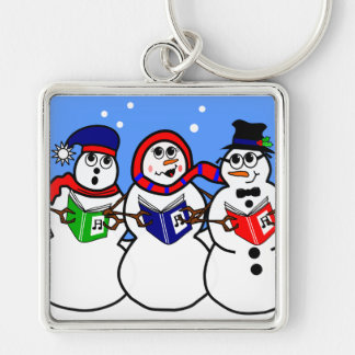 Snowman Group Singers Cartoon Characters Silver-Colored Square Key Ring