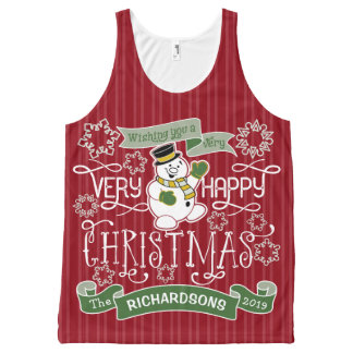 Snowman Happy Christmas Typography Custom Banner All-Over Print Tank Top