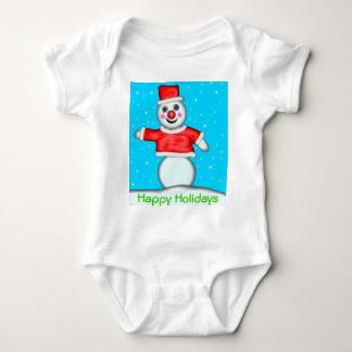 Snowman, Happy Holidays Baby Bodysuit
