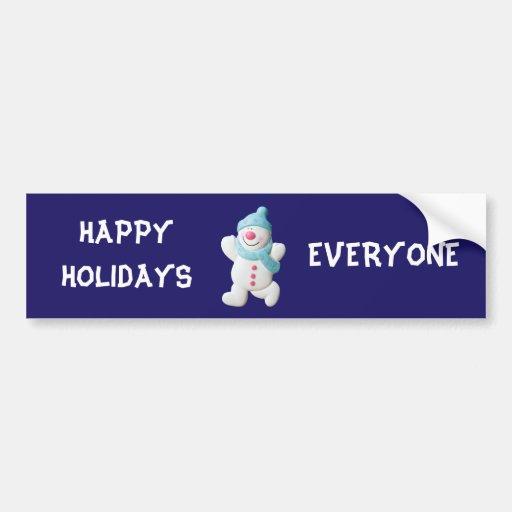 Snowman happy holidays cute custom christmas bumper stickers