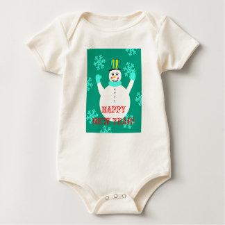 Snowman Happy New Year Baby Organic Bodysuit