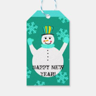 Snowman Happy New Year Custom Gift Tags