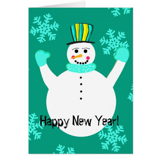 Snowman Happy New Year Greeting Card