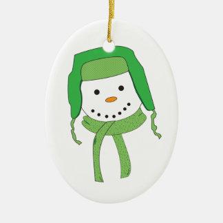 Snowman Head Green Man Ornament